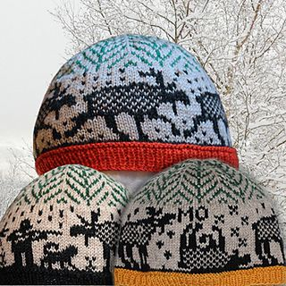 Funny hats with three different moose themes.