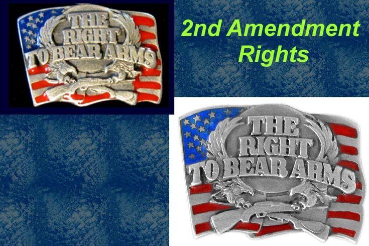 RIGHT TO BEAR ARMS Lapel Pin 2nd Amendment Unisex Gun Jewelry Hunting Sport Army