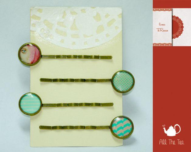 Forcine - Set di 4 forcine per capelli con cammeo (12mm) - un prodotto unico di AllTheTea su DaWanda #handmade #jewelry #DIY #ideas #gifts #vintage #unique #resin #glass #cabochon #buttons #pin #bobbypin #hairpin #pins #indie #hipster #teaparty #tealovers #forcine #forcina #capelli #accessori #acconciature #stile