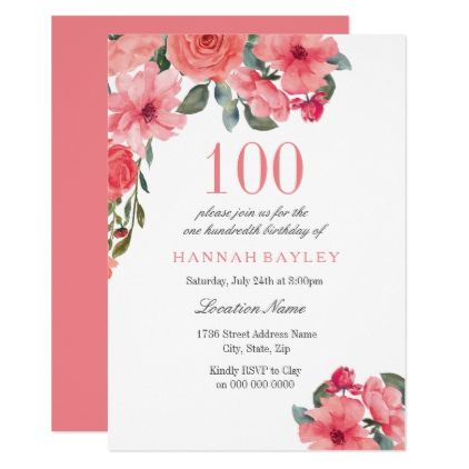 tropical pink peach summer 100th birthday invite