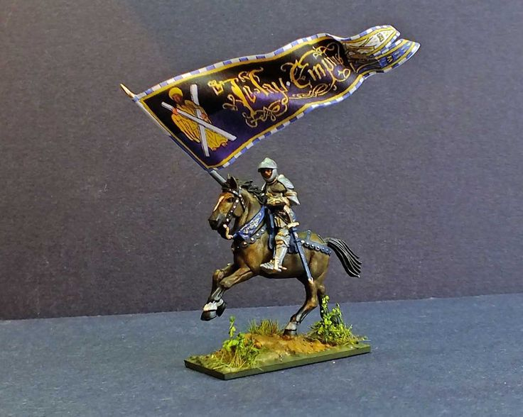 The standard of Saint Andrew (Andre) belonging to the 13th Company of the Burgundian army of Charles the Bold. The figure is a 28mm hard plastic multi part figure from Perry Miniatures.