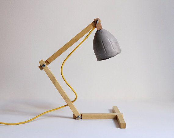 "Wooden desk lamp ""Metamorfozis No 11, paper mache desk lamp, paper pulp shade, table lamp, modern, eco-friendly, by Crea-re Studio"