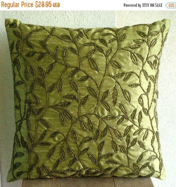 Art Silk Green Throw Pillow Cover 16 X16 Designer Pillow Custom Leaf Cushion Case Nature Floral Pattern Tropical Style Tropical Green Throw Pillows Throw Pillows Coral Throw Pillows