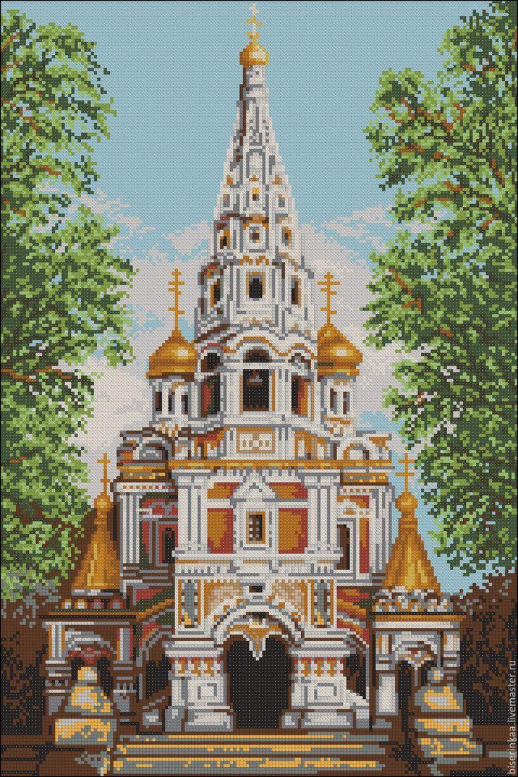 """Купить """"Дорога к Храму"""" схема для вышивки чешским бисером с полной зашивкой - схема вышивки храм"""
