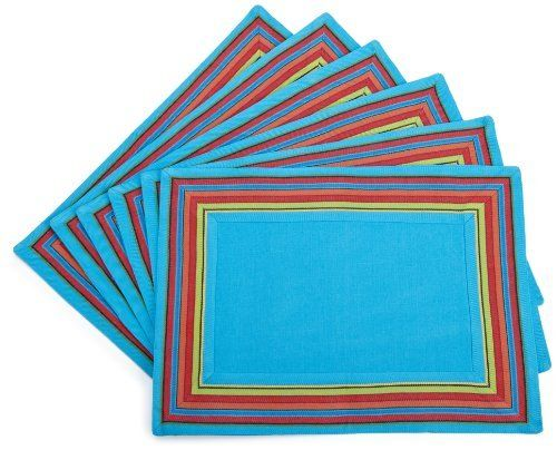 DII Ole' Ole' Ole' Maya Blue Placemat with Border, Set of 6 by DII. $46.55. Set of 6 placemats. Measures 13-inch x 19-inch. Coordinates with all dii ole,ole,ole. 100-percent cotton. Set of 6 maya blue placemats with striped border.  Coordiantes with all DII ole' ole' ole' items.  100-percent cotton.