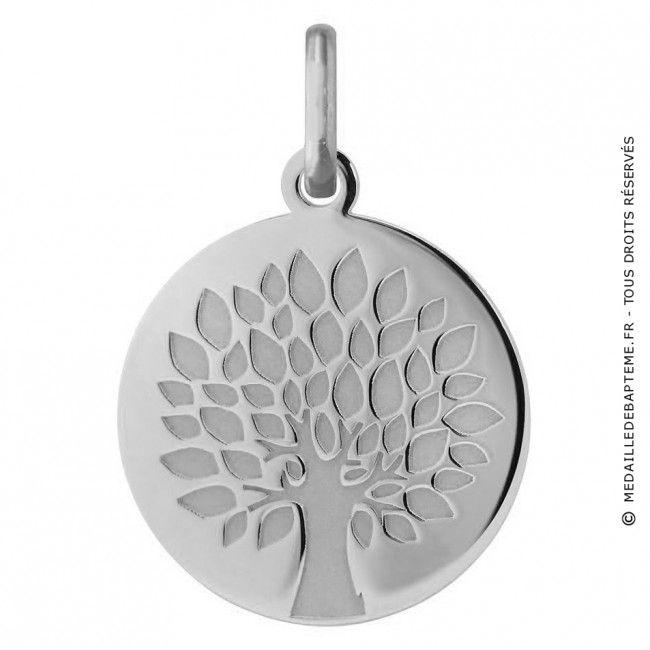 Médaille Arbre de Vie graphique (Or Blanc)