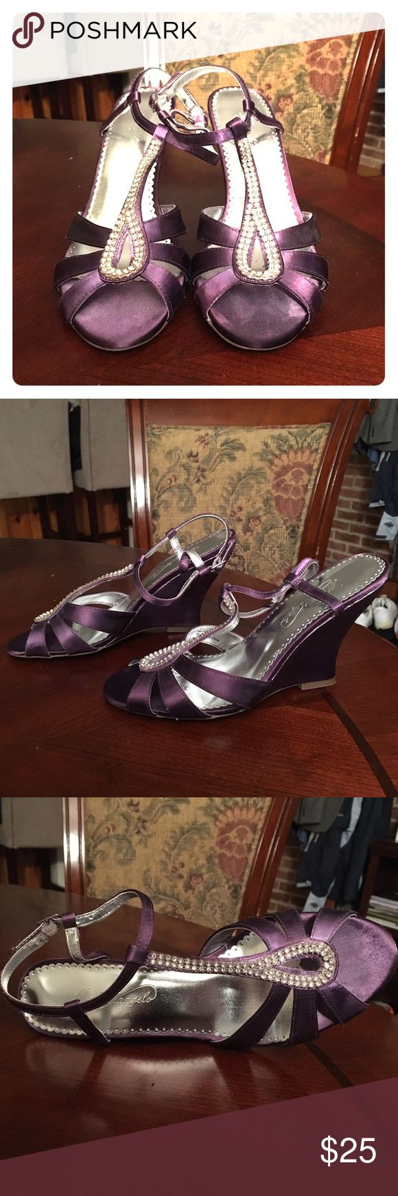 David's Bridal Bridesmaid Wedge Purple color. Michaelangelo brand. Style: Willow.  Size 7.  4 inch. Worn only once. David's Bridal Shoes Wedges
