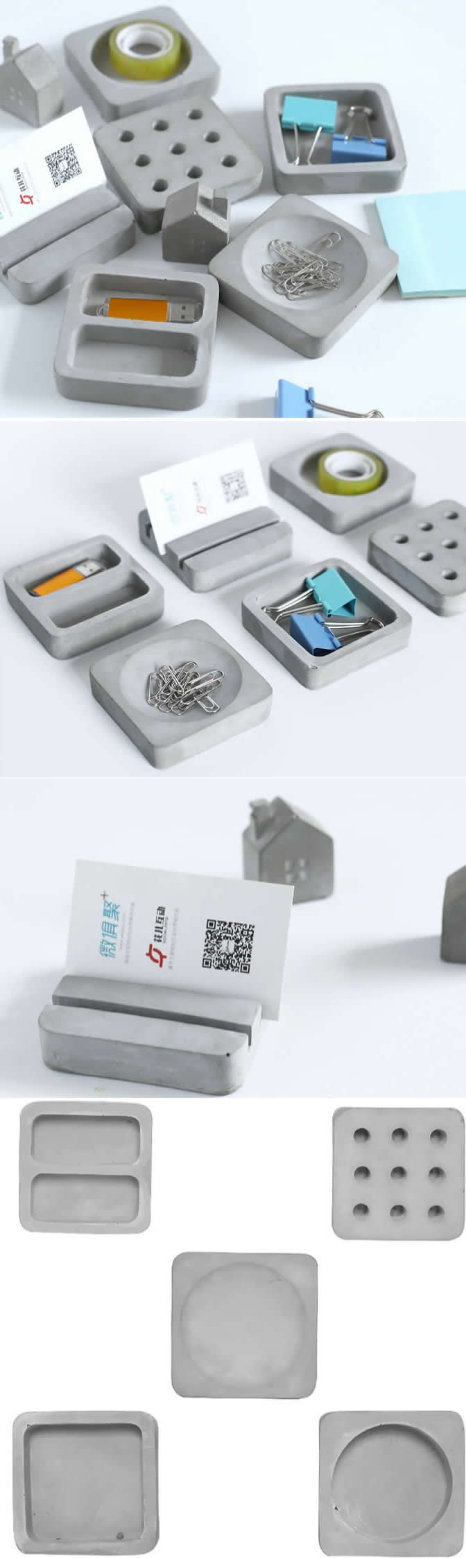 Concrete Modular Desk Stationery Organizer Smart Phone Dock Stand Holder Business Card Holder