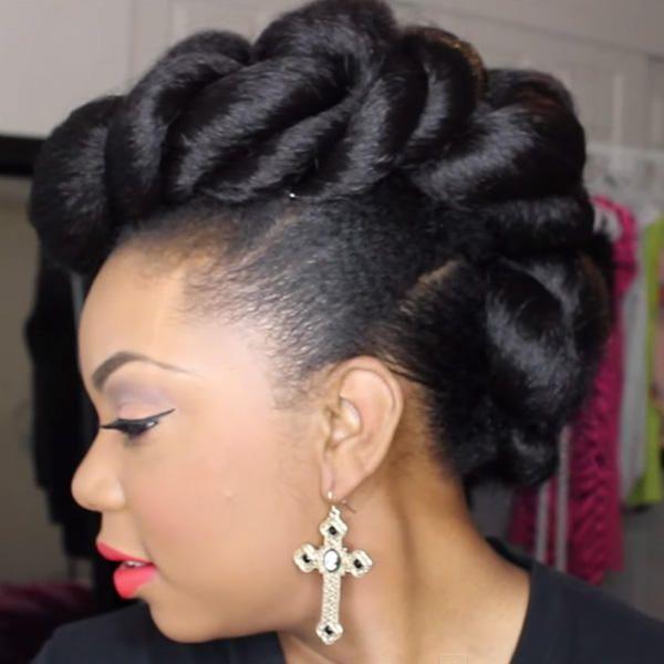 Faux Three Braid Mohawk Natural Hair