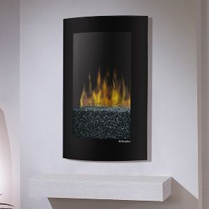 An easy to hang electric fireplace  http://www.electricfireplacesdirect.com/products-accessories/35-inch-or-less/Dimplex-Convex-Black-Wall-Mount-Electric-Fireplace