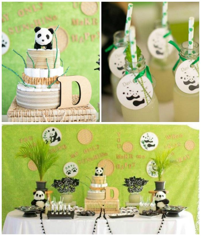 Panda Bear Themed Baby Shower via Kara's Party Ideas //This baby shower is so delightful! The black, white, green, and beige color palette is just darling and goes so well with all of the cute decor items and pieces! This party is too cute and could easily work for a baby shower or birthday party for a boy or girl!