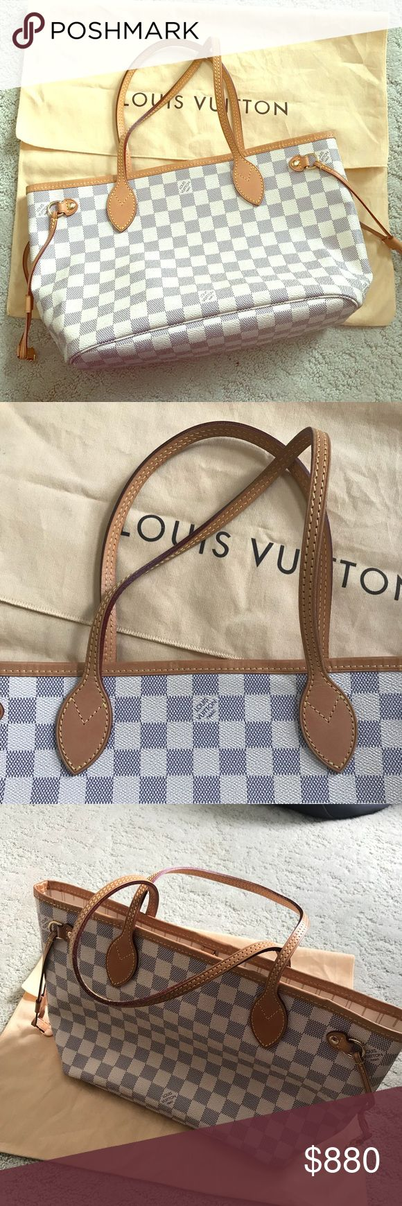 Louis Vuitton Damier Azur Neverfull PM 100% authentic Louis Vuitton Neverfull PM.  Excellent condition No rips, tears, or stains  Comes with dust bag and cloth  Smoke free, pet free home Date code VI5110 Louis Vuitton Bags Shoulder Bags
