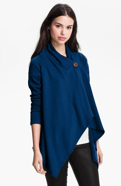 Bobeau Blue Asymmetrical Fleece Wrap Cardigan #Cardigan #Travel