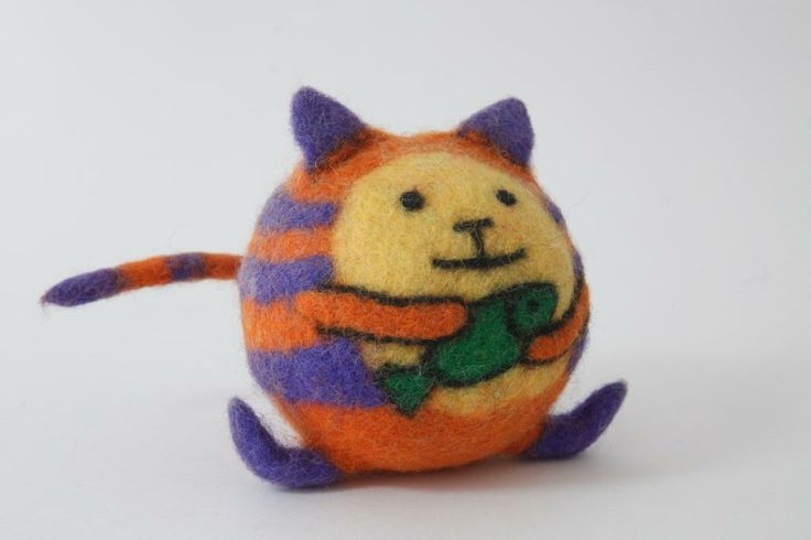 Felt Cat. 100% Wool. D: 6 cm. Felt Ball Toys along with slippers have been permanent and most popular and universal products of Tumar Art Group. Take this cat home and it will wait for you everyday.