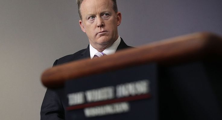 WASHINGTON, DC - MAY 16: White House Press Secretary Sean Spicer listens during a press briefing at the James Brady Press Briefing Room of the White House May 16, 2017 in Washington, DC. National Security Advisor H.R. McMaster defended the President Donald TrumpÕs decision to share intelligence with Russian Foreign Minister Sergey Lavrov and Russian Ambassador Sergey Kislyak during an Oval Office meeting last week. (Photo by Alex Wong/Getty Images)