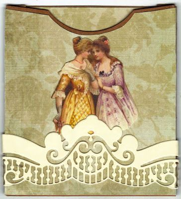 """""""This is a pocket I have made to put on a page in a flip album I am making. The image of the two ladies is of course from Lunagirl."""" ~ Vicki VICKI ROMAINE  Cheerful Stamp Pad"""