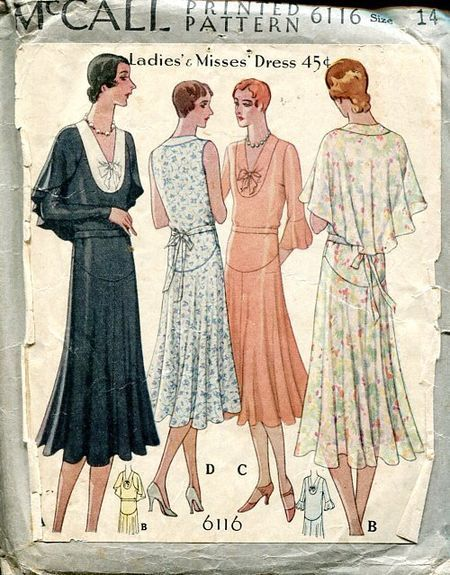 Vintage 1920s McCall Sewing Pattern 6116 - Day Dress