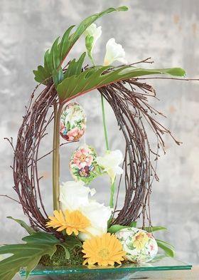 Påske | Fin dekoration med grene og påskeæg: