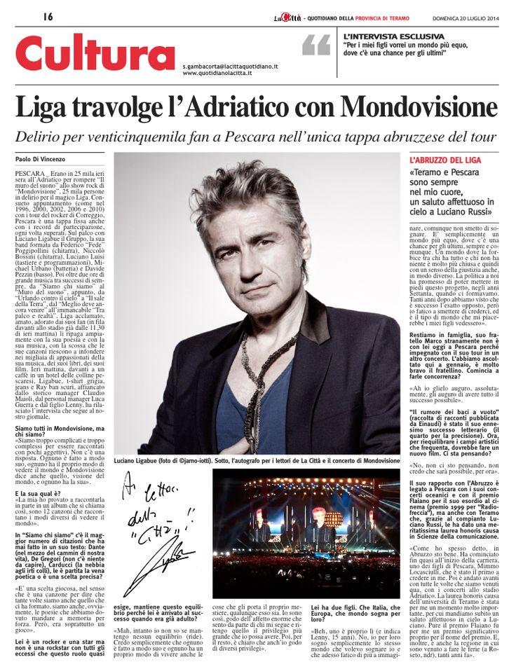 Intervista a Luciano Ligabue in occasione del concerto di Pescara del 19 luglio 2014