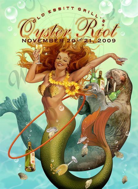 The Oyster Riot at D.C.'s oldest bar and grill.: Robert Rodriguez, S'More Bar, Oysters Riot, Mermaids Pics, Mermaids Artists, Washington Dc, Mermaids Pictures, Mermaids Image Mermadeart, Posters