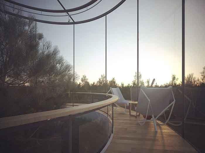 прозрачный дом на дереве