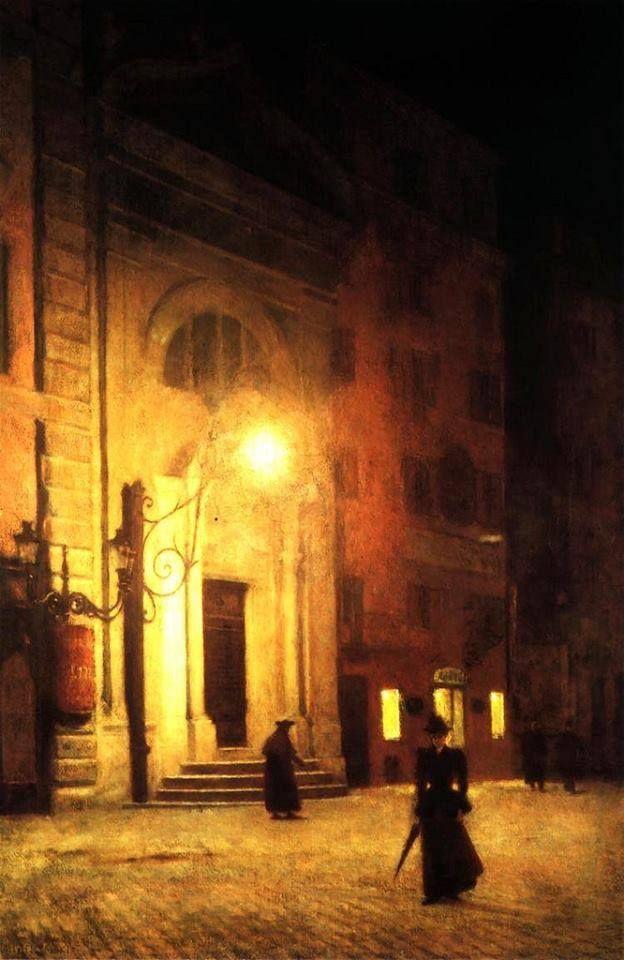 Aleksander Gierymski (1850 - 1901) Strada a Roma di notte, 1890 Olio su tela