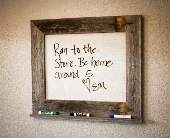 Barn wood framed marker board with burlap. 22.5 X 26.5 on Etsy, $55.00