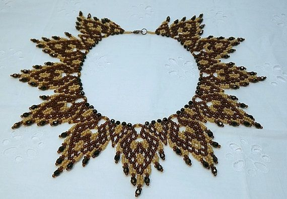 FREE SHIPPING Brown beige collar necklace folk motifs by Mamyblue, $60.00