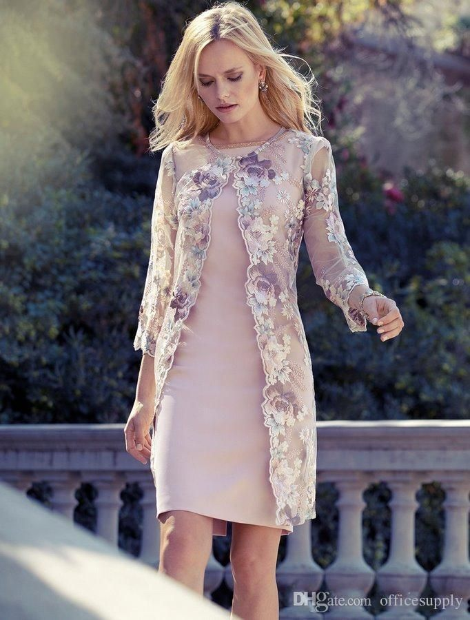Elegant Knee Length Mother Of The Bride Dresses With Lace Jacket