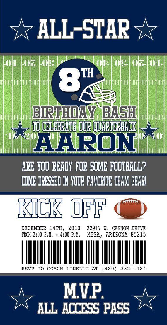 dallas cowboys inspired football ticket birthday