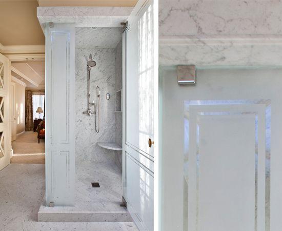 Etched Glass Shower Www Lindafloyd Com Bathrooms
