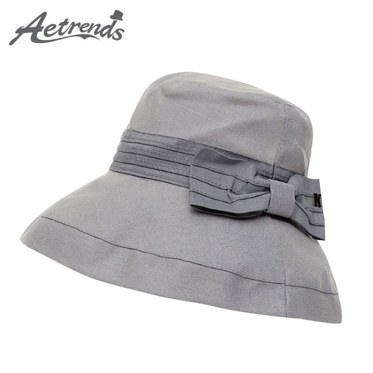 [AETRENDS] 2017 Ladies Summer Hat Cotton Floppy Sun Hats for Women Wide Brim Fedora Cap Z-5133