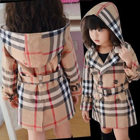 New 2014 children outerwear spring summer baby & kids girls classic brand plaid hoodies long coats infant jacket outerwear-in Jackets & Coat...