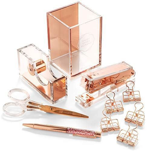 Stylish Office Desk Accessories And Supplies Kit For Women Rose