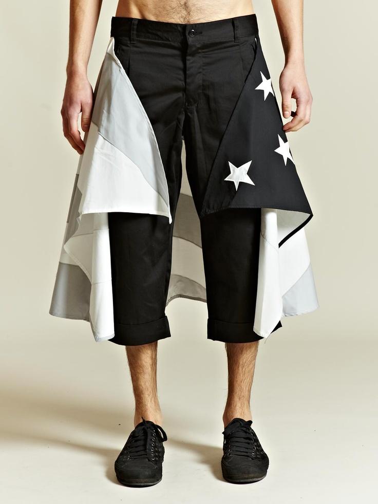 Facetasm Men's Stars And Stripes Long Shorts