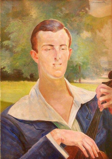 Jacek Malczewski - Portrait of a Man with Cello 1923