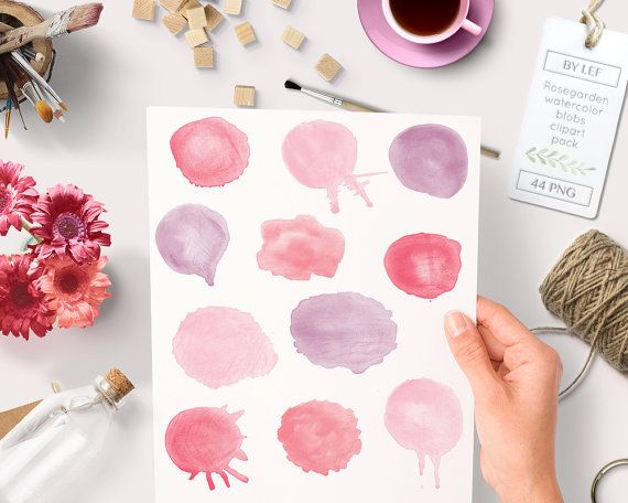 """By Lef graphics on Etsy Watercolor clipart circles (44 pc) pink purple red """"rosegarden"""". hand painted for logo design blogs making cards printables wall art etc by ByLef"""
