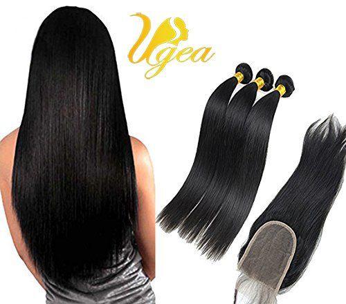 Ugea 3 Lots 18″20″22″ Humain Hair Vierge Cheveux Full Head Humains Raides Tissage Bresilien Natural avec Partie Libre Lace Closure Straight…