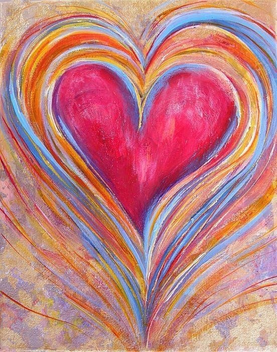 Heart art - there is no link with instructions but this could be duplicated with paint, chalk, pastels...anything really.