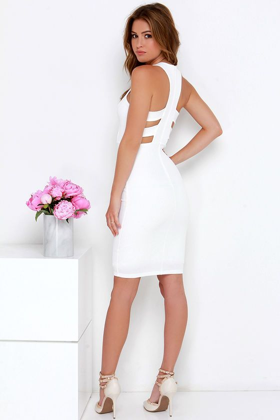 As You Are Ivory Bodycon Midi Dress at Lulus.com!