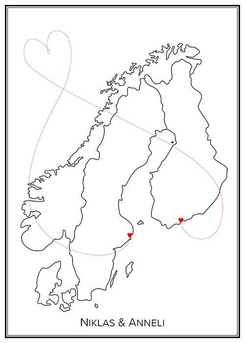 Kärlekskarta. Norden. Sverige. Map. City print. Print. Affisch. Tavla. Tryck. Stadskarta. Love.