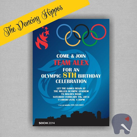 17 best olympic birthday party images on pinterest birthday olympic birthday party invitation sports invitation digital file printed invitations available customize stopboris Choice Image