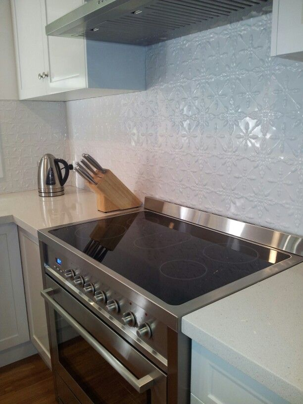 Pressed tin splashback
