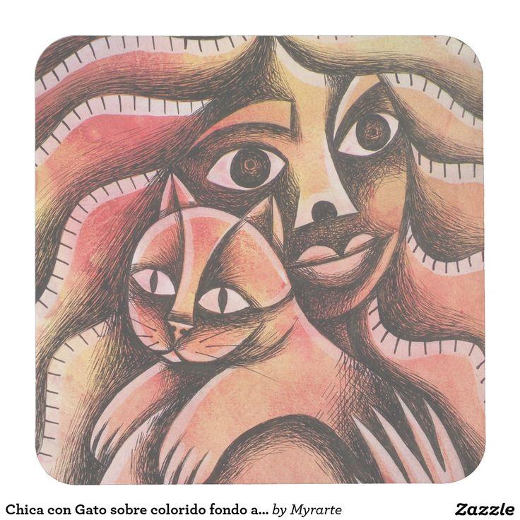 Chica con Gato sobre colorido fondo abstracto Square Paper Coaster. Gato, cat, kitten. Producto disponible en tienda Zazzle. Decoración para el hogar. Product available in Zazzle store. Home decoration. Regalos, Gifts. #posavaso #coaster #cat #gato #kitten