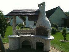 Räuberküche Grau Gartengrillkamin Steingrill Terassenofen Feuerstelle Betongrill