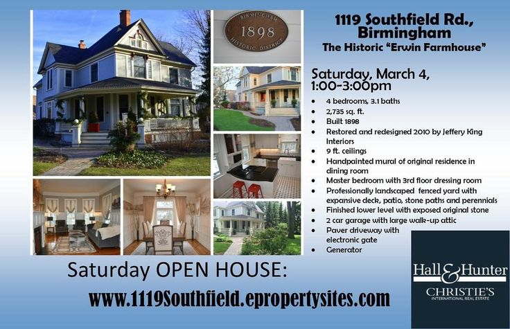 "In the market for a show-stopping historic home in the heart of Birmingham? Come and view the historic ""Erwin Farmhouse"" at 1119 Southfield Rd. on Saturday March 4 from 1-3 pm! $849000 4 bedrooms 3.1 baths Finished lower level  House set deep on corner lot  Show stopping charm! No detail was missed in the restoration of this historical 19th century farmhouse while thoughtfully maintaining the original integrity with a modernized elegant twist. Redesign 2010 by Jeffery King Interiors. From…"