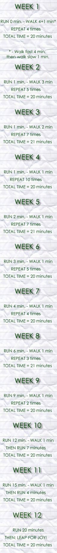 Running Training for Beginners...although I'm on week 8ish....this is still a wonderful way to get back into it if you haven't ran for a while: Start Running, Beginner Runners, Beginner Running, Back On Track, I Hate Running, Couch To 5K, 12 Weeks, Running Training Program, Running Plans