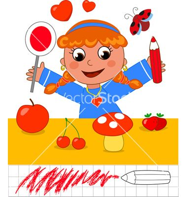 Color game girl with red objects vector art -