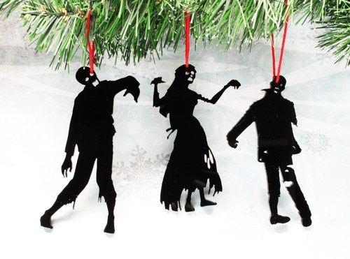 zombie christmas  | Zombie Silhouette Christmas Ornaments, set of three, black, halloween ...