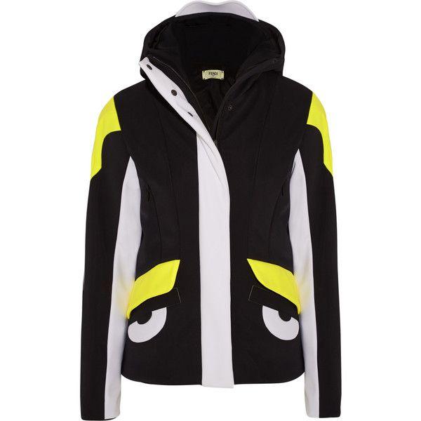 Fendi Hooded stretch-shell ski jacket ($2,460) ❤ liked on Polyvore featuring black, black slip and fendi